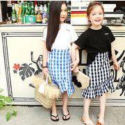 子供服 夏 Tシャツ   スカート 女の子 格子 チェック ママとムスメ 親子服