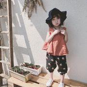 小中児童 女児 夏 新品 ファッション ルース 単一色 スリング トップス + プリント