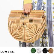 ハーフムーンバンブーバッグ 【即納】 バッグ かごバッグ 竹バッグ サークル 丸形 大きいサイズ s