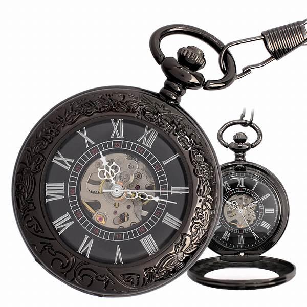 ポケットウォッチ 懐中時計 手巻き スケルトン 蓋付き シースルー  PWA002 メンズ懐中時計