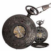 ポケットウォッチ 懐中時計 手巻き スケルトン 蓋付き シースルー  PWA004 メンズ懐中時計
