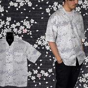 【2018SS新作】和柄花吹雪プリント 裏使い オープンカラー 半袖シャツ