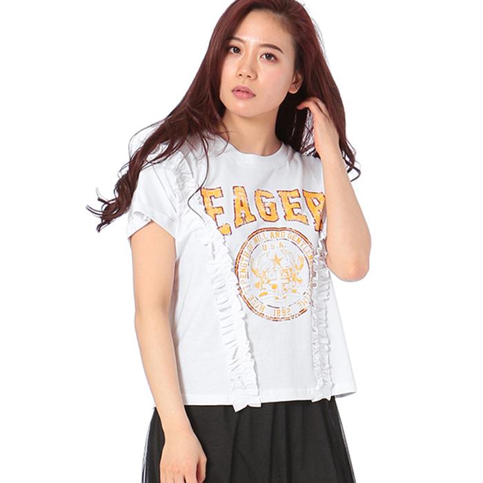 【2018春夏新作】20/-天竺 サイドフリル Tシャツ(カレッジ)