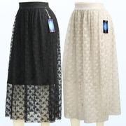 【初秋物】レディース スカート 柄入りのレースにプリーツ加工を施したフレアスカート 5枚セット