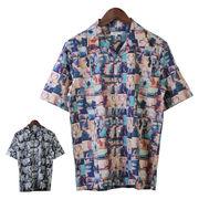 【2018SS新作】メンズ 総柄ガールズフォト オープンカラーシャツ
