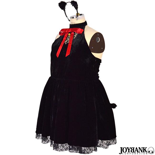 [8mm]黒猫ギャザーワンピース ブラックキャット 大きいサイズ コスチューム 衣装