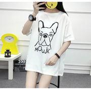 女性服 夏服 新しいデザイン 中長スタイル 漫画 プリント 半袖Tシャツ ルース レジャ