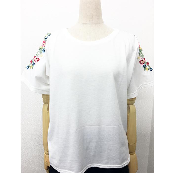 20/-天竺 肩開き お花刺繍Tシャツ