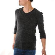 7分袖Tシャツ メンズ Vネック 杢 無地 フライス カットソー 細身 スリム ストレッチ 厚手 グレー 黒 青 紺