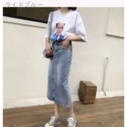 夏 女性服 新しいデザイン 韓国風 文学の ハイウエスト 水洗い デニムスカート 中長デ