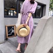 韓国風 パープル ルース 半袖 ワンピース 女 夏 学生 中長スタイル フリル サイド