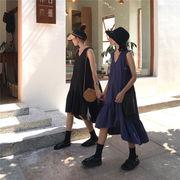 ワンピース 女 夏 新しいデザイン ルース 襟 ノースリーブ タンクドレス 韓国風 学生