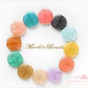 マーブルカラー平ビーズ★10個♪アクリルビーズ/ビーズアンドパーツ/beads502