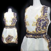 【即納】ジャガード織★プリント柄★ふんわりミニドレス
