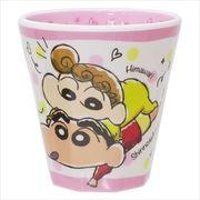 《キッチン雑貨》クレヨンしんちゃん Wプリントメラミンコップ/らくがき ピンクドット