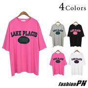 Tシャツ レタリング ネオンカラー配色 ナンバリング 五分袖 ロング レディース 大きいサイズ 夏服