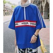 夏秋新作メンズTシャツ 半袖トップス おしゃれ カジュアル♪ブルー/ブラック2色