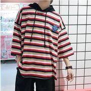 夏新作メンズTシャツ トップス おしゃれ ゆったり♪イエロー/レッド2色
