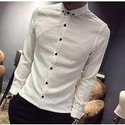 秋冬新作メンズワイシャツ トップス長袖 おしゃれ シンプル♪ホワイト/グレー2色