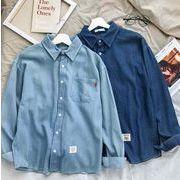 秋冬新作メンズワイシャツ デニム おしゃれ キレイ目シンプル♪ライトブルー/ダークブルー2色