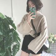 秋冬服 新しいデザイン 韓国風 セミハイ襟 ツイスト 何でも似合う ヘッジ ルース 原宿