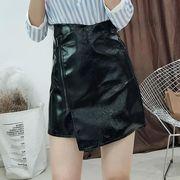 【OML】クールPU斜めジッパー不規則ミニスカート:ブラック_OML8395