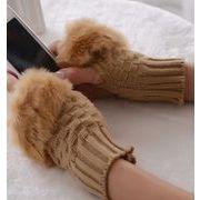 レディース手袋 防寒 おしゃれファー モコモコ 手首ウォーマースマホ手袋 指なし ハンドウォーマー 9色