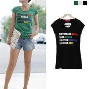 Tシャツ ダメージ加工 レタリング ビタミンカラー レディース 大きいサイズ 2018 夏服 上品