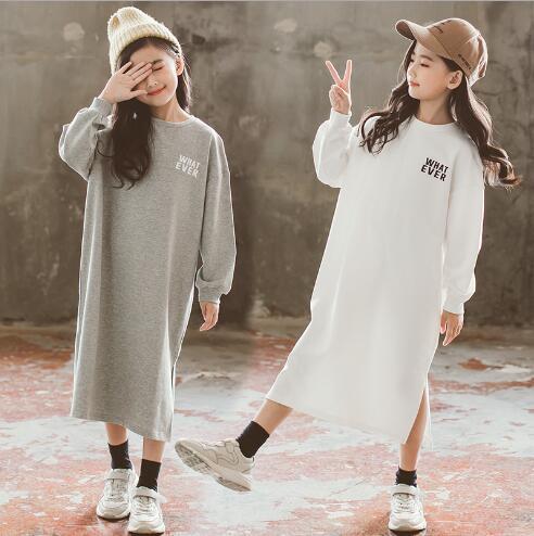 秋新作 子供 ワンピース 女の子 ファッション カジュアル tシャツ 2色