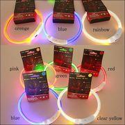 光る首輪 光る LED 首輪 夜間 散歩 安心 安全 レインボーあり USB 充電式 ハサミでカット 簡単着脱