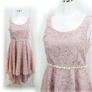 【即納】【ご奉仕品】ウエストパール飾り付き★ジャガード織★ベアロングドレス