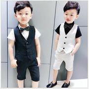 3点セット 子供服 スーツ 男の子 フォーマル ジュニア キッズ 入学式 短パンツ+ベスト+ネクタイ