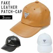 帽子 キャップ メンズ レディース フェイクレザー ベースボールキャップ 合皮 ワッペン 秋 冬 春 Keys