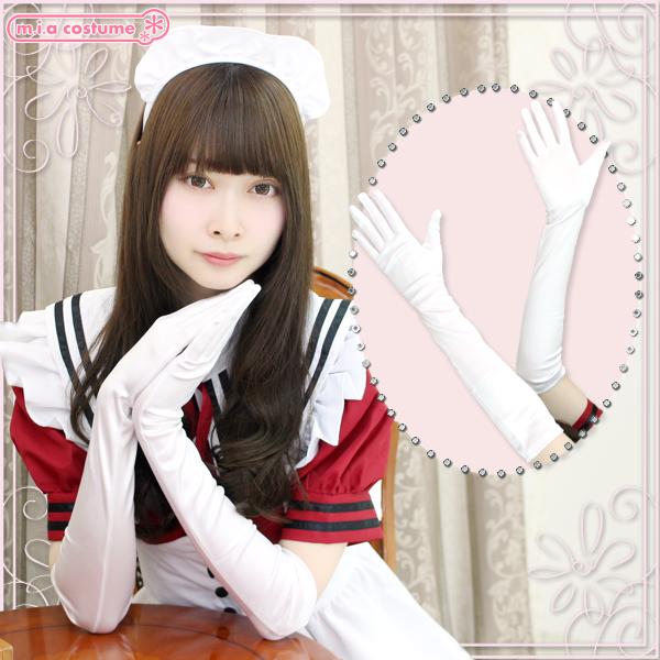 1201J■■送料無料■ サテン手袋 色:白 サイズ:F