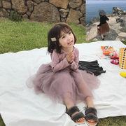 キッズ レース プリーツワンピース プリンセス 長袖 可愛い 女の子  SALE 子供服 クラシック kids