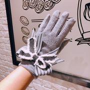 秋冬新品 レディースファッション 手袋 グローブ リボン 蝶結び タッチパネル対応 防寒