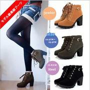 【海外買付】レディース 靴ムートンブーツ美脚脚長ショートブーツフラットヒール♪♪ 太ヒール全3色