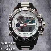アナデジ デジアナ HPFS622-WHBK アナログ&デジタル 防水 ダイバーズウォッチ風メンズ腕時計 クロノグラフ