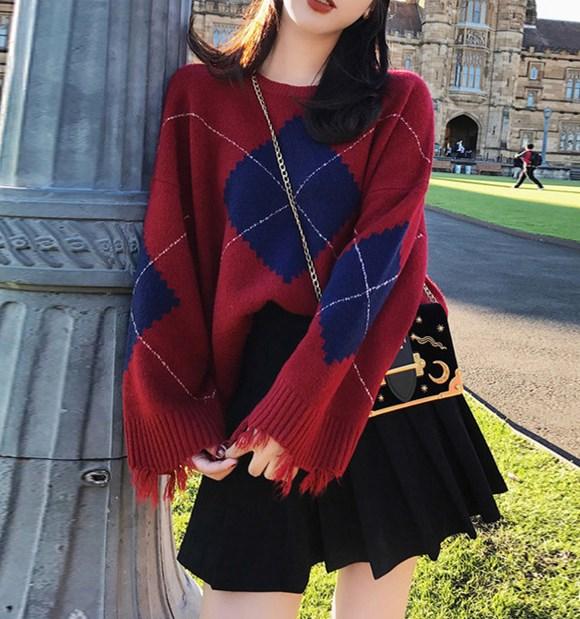 ニットセットアップ ニットセーター+スカート 韓国ファッション チェック柄スカート