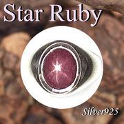 リング / 09-104-2  ◆ Silver925 シルバー リング スター ルビー 14号