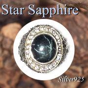 大きいサイズ / 09-98-4  ◆ Silver925 シルバー ドラゴン 龍 リング スター サファイア 17号