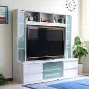 ☆ハイタイプ 鏡面 50インチ対応 TV台 テレビラック 150cm幅 ホワイト FS-15150WH