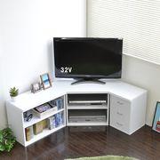 ◎テレビ台 コーナー 3点セット 木製  ホワイト  SZ-TS3WH