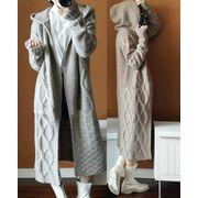 レディースアウター3色 ケーブル編み フード付き カーディガン 温かい 厚手 ニットコート ニットセーター