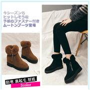 2018海外買付秋冬レディース靴 ムートンブーツ ショートブーツ 暖か 防寒 裏起毛 ファスナー付き厚底美脚