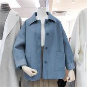 💛 韓国ファッション ゆったりする 短いスタイル 気質 ウールコート