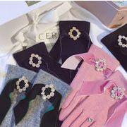 秋冬新品 レディースファッション 手袋 グローブ ベルベット ウール 防寒 カワイイ 韓国