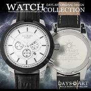 腕時計 デイズアートオリジナル クロノグラフ メンズウォッチ 本革ベルト バックル留め具 白文字盤 大きい