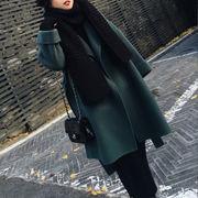 2018秋冬新作 レディースカシミヤロングコート 単一色  無地 両面 エレガント リボン付 韓国スタイル