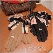 2019秋冬新作 韓国 手袋 ウール チェック柄 ファッション リボン パール 防寒 シンプル